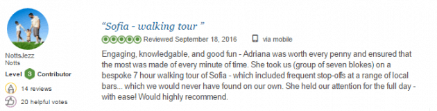 Private guide Bulgaria reviews